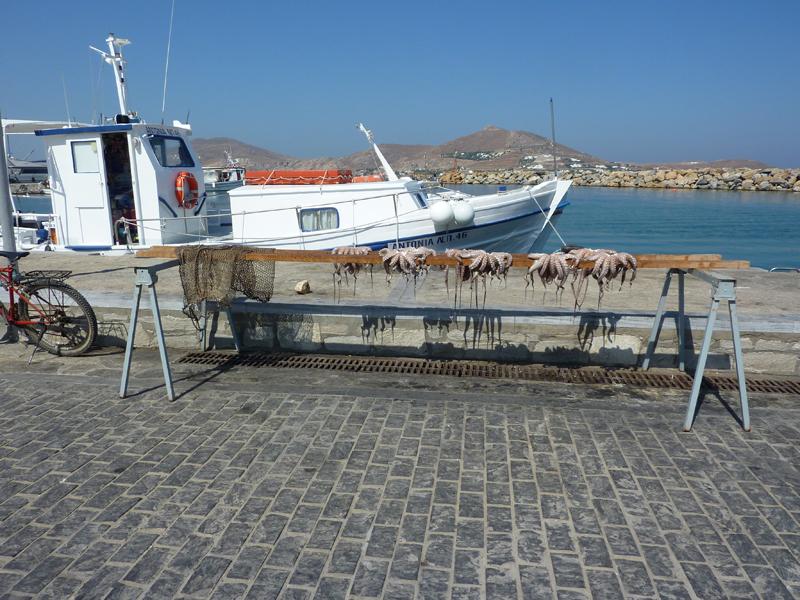 Poulpes séchants au soleil, Paros