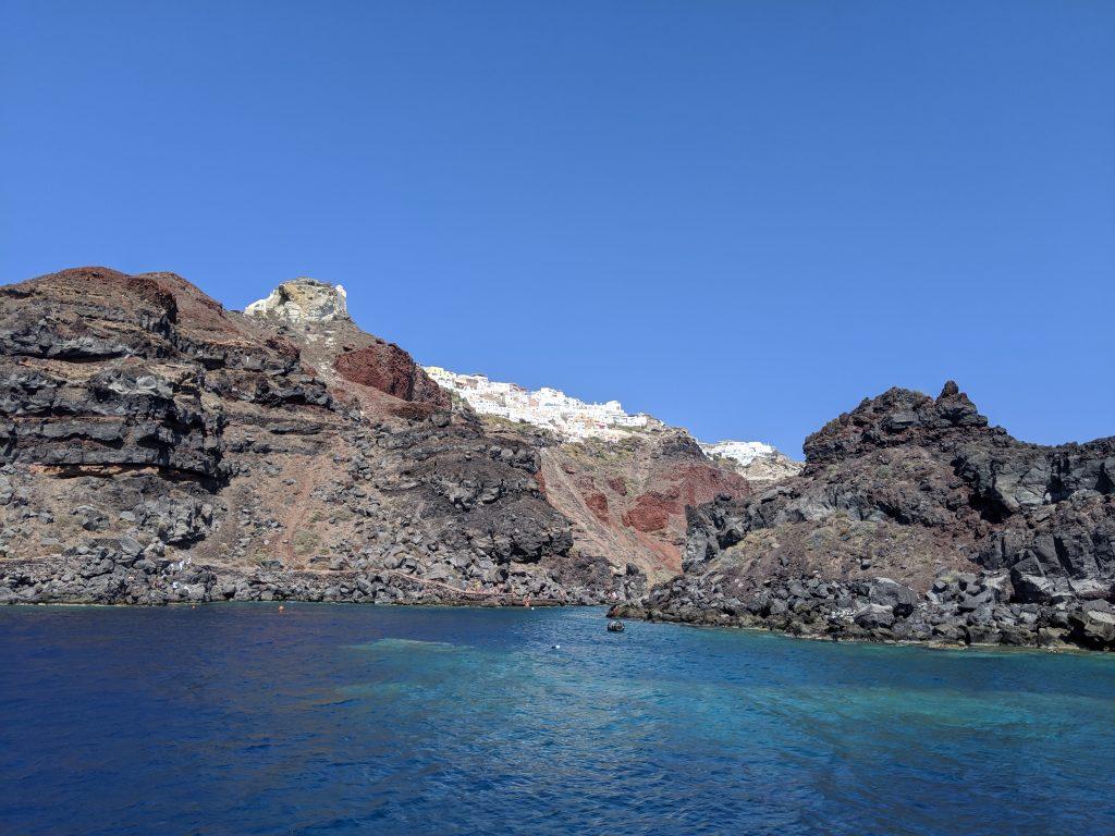 Croisière au large de Santorin, Oia depuis la mer